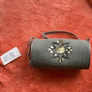 Grey Clutch bag with Beading Detail NWT
